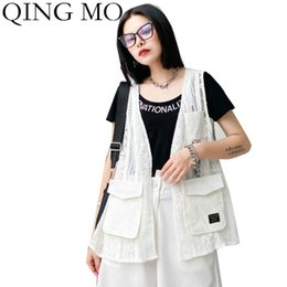 Wholesale summer waistcoats women for sale - Group buy QING Black White Women Lace Vest Waistcoat Summer Thin Open Stitch With Large Pockets Female Elegant Vest ZQY4244