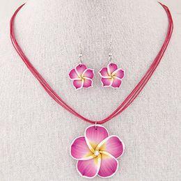 Polymer Pendants Australia - New Fashion Hawaii Plumeria Flowers Jewelry Sets Polymer Clay Earrings Necklace Pendant