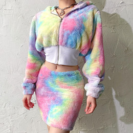 Wholesale cosplay pieces woman for sale – plus size Spring New Cosplay Costume piece Set Female Cute Sexy Rainbow Bra Hip Skirt Short Sweatshirt Kawaii Rainbow Women Suit