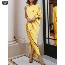 IndIan sprIngs online shopping - One Shoulder Autumn Elegant Long Sleeve Ribbon Around The Neck Batwing Party Robe Indian Saree Style Dress Designer Clothes