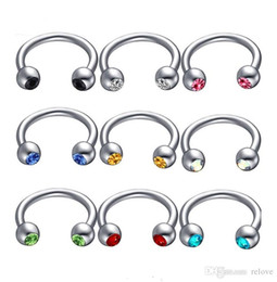 $enCountryForm.capitalKeyWord NZ - Anodized Nose Rings eyebrow ring Surgical Steel Body Jewelry Crystal Sexy Piercing Hoop horseshoe Daith Tragus Earring Women Men