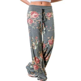 Blue Grey Leggings UK - Fashion 2018 Women Loose Wide Leg Long Pant Floral Print Casual Palazzo Leggings Trouser Pajama Pants At Home Plus Size 3XL T190606