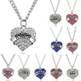 Wholesale Heart Shaped Diamonds Australia - Heart shaped diamond Pendant family member Necklace affection between family members Pendant Necklaces letter of the necklace-P
