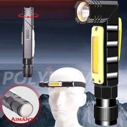 $enCountryForm.capitalKeyWord NZ - USB Rechargeable Multifunction Led Flashlight Handfree 90 Degree Rotary Clip Magnet Lighting LED Torch Outdoor Camping equipment Head light