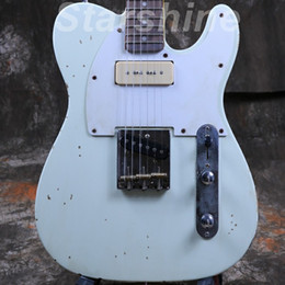 Wholesale Starshine Relic Electric Guitar CC RTL4 P90Pickups Brass Saddles Nitrolacquer Stain Finish Less Relic Handmade ASH Body Vintage Tuner