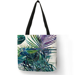 $enCountryForm.capitalKeyWord NZ - 2019 Hot New Tropical Plant Monstera Print Tote Bags For Women Eco Linen Shopping Bag With Print Folding Hand Wrist Bag Pouch