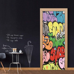 Wallpapers Walls Cartoons Australia - Door Wall Mural Wallpaper Stickers Cartoon Letters Graffiti Vinyl Removable Decals for Home Room Decoration