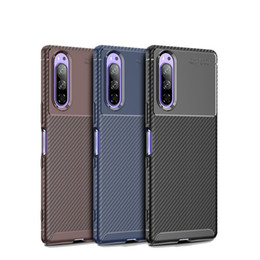telemóvel caso sony xperia venda por atacado-TPU Phone Cover Carbon Fiber Shock proof Phone Case Frosted Concise Mobile Phone Protective Back Cover for SONY Xperia