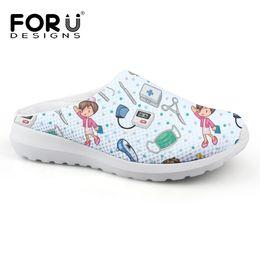 mint sandals 2019 - FORUDESIGNS Cartoon Cute Nurse Pattern Casual Women Slippers Summer Breathable Mesh Women's Sandals Beach Girls Fas