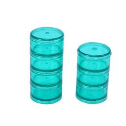 Green Box Containers Australia - 1 Set Portable Cylindrical Medicine Box Plastic 7 Grids Combination Storage Box Organizer Container (Size S Green)