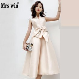 Weddings & Events Robe De Soiree 2019 Boat Neck Short A Line Banquet Reflective Dress Bridesmaid Dress Lace Elegant Formal Champange Prom Dress New Varieties Are Introduced One After Another