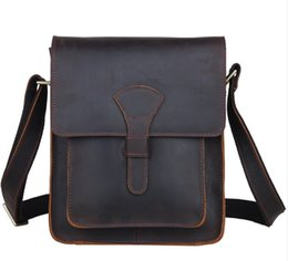 vintage ipad messenger bag UK - Men Genuine leather cross body messenger bag dark brown vintage style bag for iPad crazy horse leather small bag 1112