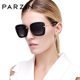 sunglasses parzin 2020 - PARZIN Black Square Frame Polarized Sunglasses UV400 Driving Vintage Shades For Women High Quality Eyewear With Accessor
