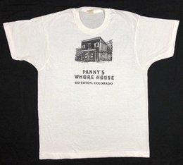 Large Housing Australia - Vtg 80s Screen Stars Fannys Whore House Colorado White S S T-Shirt Sz Large High quality ,Casual Short sleeve, Printed Fashionable Round