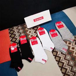 Sock Packs Australia - 6 Pairs Box Packed Cotton Socks Men And Women Couples Socks High Quality Popular Logo Short Socks