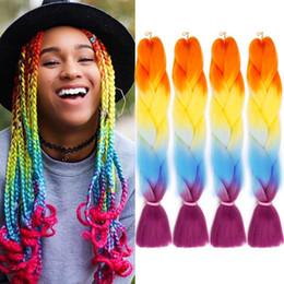 $enCountryForm.capitalKeyWord Australia - Crochet Braids Ombre Jumbo Braiding Hair Extensions Synthetic Yaki Straight 5 Pieces 4 Tone 24inch Kanekalon Xpression African Hair Braiding