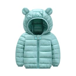 importing clothes Canada - Super cool 1- 5 years old baby girls jacket kids boys fashion coats with ear hoodie autumn girl clothes infant clothing import