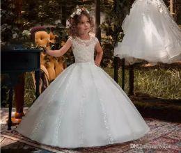 Little Girls White Lace Dresses Australia - Princess White Flower Girls Dresses Lace applique Cap Sleeve Little Kids Family birthday party dress 2018