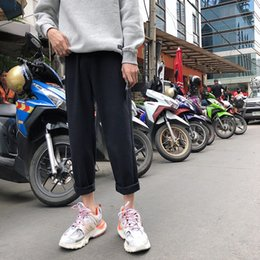 Korean Jeans Hot Pants Australia - 2019 Spring Uyuk Jeans For Men Unsex Pants Straight Solid Trousers Harlan Couple Pants Korean Classic Black White Hot Sell