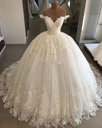 $enCountryForm.capitalKeyWord Australia - Luxury Bridal Wedding Gowns 2019 Puffy Ball Gown V-neck Cap Sleeve Lace Bling Bling Saudi Arabia Off shoulder Wedding Dress