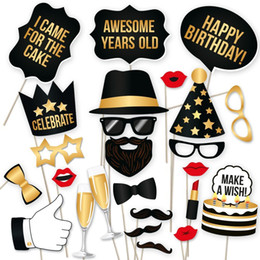 Mustache Birthday Party Decorations Australia - Creativ 34pcs lot Photo Booth Props Birthday Party Masks Hat Mustache Lip photobooth props Festival Party Decoration Birthday Party Favor