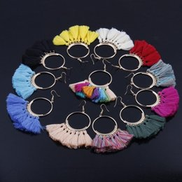 $enCountryForm.capitalKeyWord NZ - Free DHL Bohemian Tassel Hoop Earrings Colorful Fan Shape Statement Drop Earrings for Women Girls Fashion Jewelry Christmas Gifts G794R F