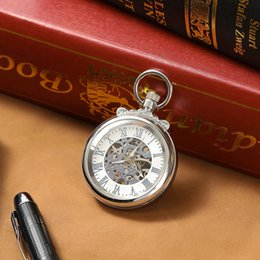 cool silver watches NZ - 2019 Mens Fashion Cool Silver Hollow Mechanical Pocket Watch Men Gift Watch C453