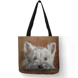d7162f0624e Unique Design Westie Dog Painting Handbag For Women Shopping Travel Bags  Large Capacity Eco Linen Tote Bag Dropshipping