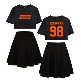 Wholesale fans pants resale online - ATEEZ Summer Kpop Two Piece Sets Short Skirts and Short Sleeve T shirt Harajuku Casual Women Hot Sale sets fans ATINY