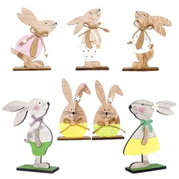 diy easter decorations NZ - Cute bunny Easter Decorations Wood Easter Rabbit 3 Types With Easter Egg Ribbon Stand Decoration DIY Craft Ornament kids Gift