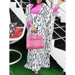 white color block dresses 2019 - African Stripe Print White Long Dress Women Oversized Batwing Sleeve Color Block Plus Size Ladies Casual Maxi Dress Summ