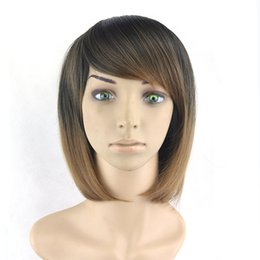 BoBo hair wigs online shopping - Short Bobo Wigs Women Hair Cosplay Wigs Synthetic Hair Heat Resistant Wig Black To Brown Straight Hair