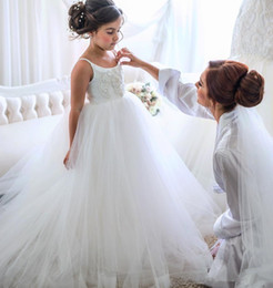 $enCountryForm.capitalKeyWord Australia - Lovely Flower Girls' Dresses for Weddings 2019 Spaghetti Straps Applique Tulle Puffy Princess Party Communion Dress