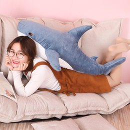 life size toy bear UK - 80 100cm Big Size Funny Soft Bite Shark Plush Toy Pillow Appease Cushion Blue Stuffed Shark Dolls Gift For Children Sleeping Toy