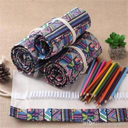 vintage stationery set NZ - 72 Holes Canvas Roll Up Pencil Wrap Pouch Holder Case, Handmade Pen Bag Painting Drawing Pencils Storage Holder Vintage Stationery