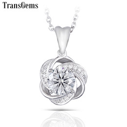 $enCountryForm.capitalKeyWord UK - Transgems 14k 585 White Gold Center 1ct Moissanite F Colorless Pendant With Accents For Women Flower Shaped J 190427