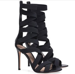 $enCountryForm.capitalKeyWord Australia - Rome Style Stretch Ankle Wrap Hollow Out Sexy High Heels Sandals Black Prom Gown Dress Party Shoes Zipper Size 35 to 40