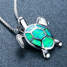$enCountryForm.capitalKeyWord Australia - New Fashion Lovely Green Fire Opal Turtle Pendant Necklaces For Women 925 Sterling Silver Filled Animal Wedding Necklace