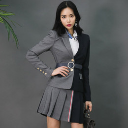 $enCountryForm.capitalKeyWord Australia - Patchwork Color fashion female suit skirt Button Long Sleeve Elegant Playsuit 2 pcs Sets women professional wear