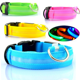 Nylon Dog Collar Wholesale Australia - Nylon Pet Dog Collar LED Light Night Safety Glowing Pet Supplies Cat LED Dog Collar Pet Accessories For Small Dogs LED Collars