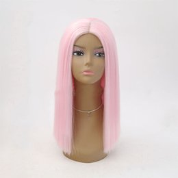 $enCountryForm.capitalKeyWord Australia - Front Lace Wig Ma'am Chemical Fibre Hair Light Pink Colour Poepoe Head In Ekusute Within Buckle Short Straight Hair Headgear