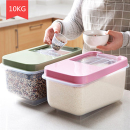 $enCountryForm.capitalKeyWord Australia - Kitchen Organizer 10kg Grain Storage Rice Cereal Bean Container Sealed Box With Measuring Cup J190713