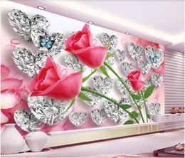 Art Love Wallpaper Australia - 3d wallpaper custom photo mural Diamond Rose 3D Love Creative Stereo Romantic TV Background Wall home decor wall art pictures