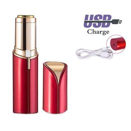 mini lipstick female Canada - USB Rechargeable Women Mini Hair Removal Painless Electric Epilator Female Upper Lip Cheeks Lipstick Shaver Face Hair Remover