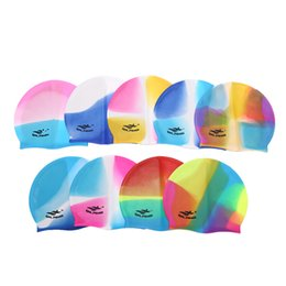 Discount swim hats for long hair - Rainbow Colorful Waterproof Silicone Ear Long Hair Protection Swim Pool Swimming Cap Swimwear Hats for Adults