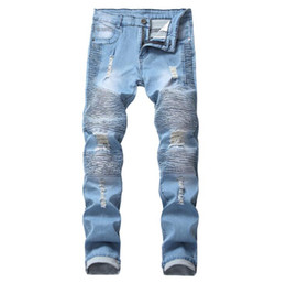 Chinese  New Men's Jeans Ripped Holes Pants Korean Style Elasticity Casual Trousers Cool Stretch Man Denim Pants Spring manufacturers