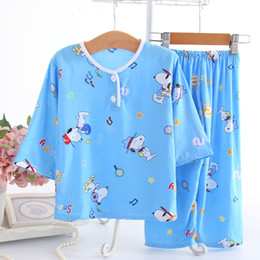 Baby Girl Summer Suits Australia - 2019 children's pajamas summer cotton silk suit thin long-sleeved baby home clothes boys and girls home cotton