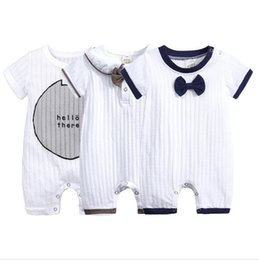$enCountryForm.capitalKeyWord NZ - Baby Boy Clothes Summer Short Sleeve One-pieces Jumpsuit with Bow Baby Onesie Gentleman Clothes Cotton Newborn Baby Clothes Knitted Rompers
