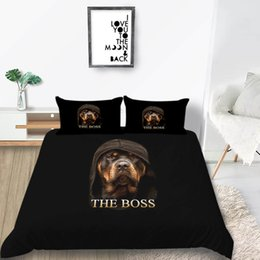 king size duvets sale Australia - Black Bedding Set Dog Lifelike Handsome Hot Sale Cool Duvet Cover Queen Size King Single Twin Full Double Bed Cover with Pillowcase