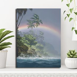 rainbow canvas prints Australia - Sea Rainbow Scenery Landscape Painting Poster Canvas Painting Wall Picture Poster Print Living Room Decoration Home Decor